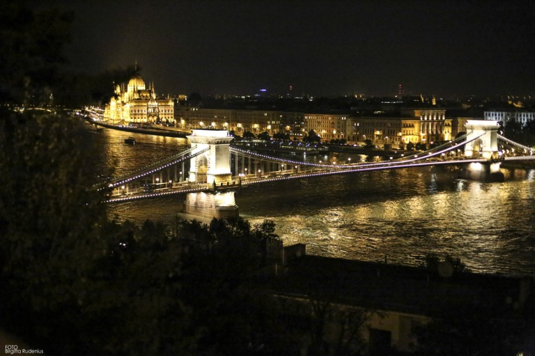 View from Buda castle over the Danube and Pest. Chain Bridge and the Parliament.